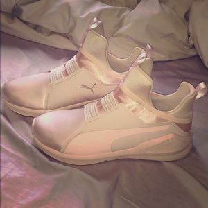 Satin pink puma trainers NEVER WORN